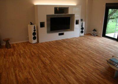Wohnzimmer Mit Kamin Auf Olivenholz Parkett V14 Venato Extra